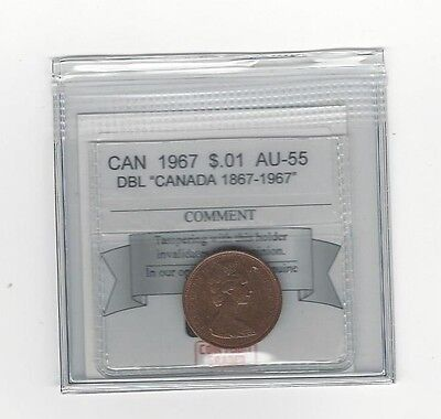 """**1967 Dbl """"Canada 1867-1967*Coin Mart Graded Canadian Small One Cent, **AU-55**"""