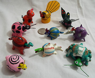 Lot of 10 Assorted Bobble Head Animals Various Colors Butterfly Rat Pig Rhino