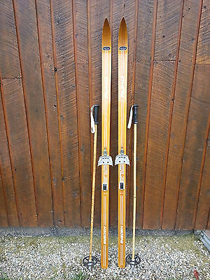 "VINTAGE Wooden 69"" Skis Has BROWN Finish Signed RUHO + Bamboo Poles"