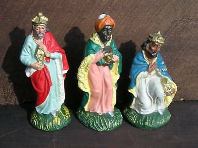 3 Vintage~Wisemen Christmas~Nativity Hand Painted Italy Wise Man