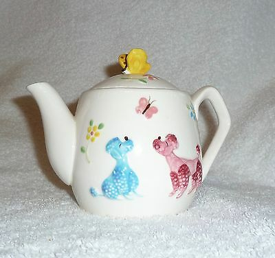 Vintage Enesco Poodle Teapot Blue Pink Yellow Butterfly Mid-Century