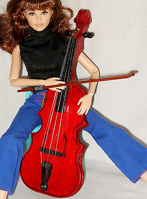 "VIOLIN Cello Wood Instrument 7.5"" American Girl Barbie Accessory Lucy Miniature"