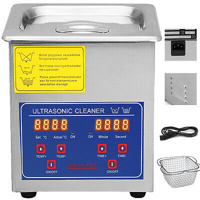 Stainless Steel 2 L Liter Industry Heated Ultrasonic Cleaner Heater w/Timer CE