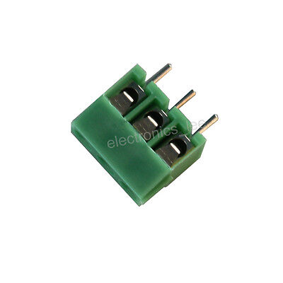 10 pcs 3 pin 3.5mm Pitch Screw Terminal Block Connector Green for PCB Mounting