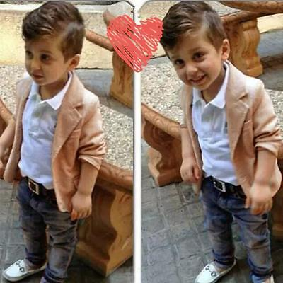 3PCS/Set Kid Baby Boy Gentleman Coat+Shirt+Jeans Pant Trouser Clothes Outfit LOT