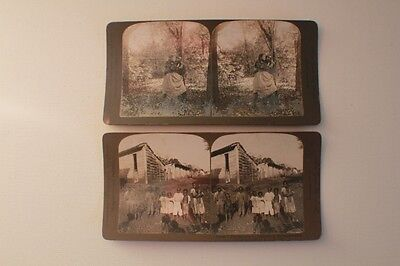 2 Antique Stereo View Cards Black Americana 1898 by R Y Young