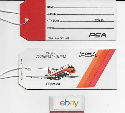 Psa Pacific Southwest Airlines Super Md-80 Luggage Tag 1980's Unused