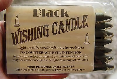 7 x BLACK - SPELL WORK  - WISHING CANDLES 14cm Wicca  Witch Pagan Goth Ritual