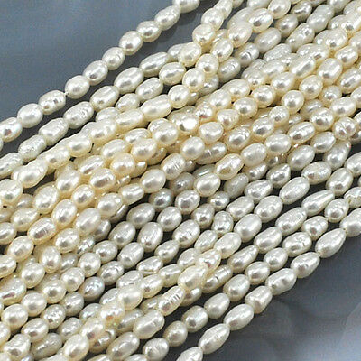 """4x3mm Natural White Freshwater Pearl Rice Beads 15"""" (PE169)a"""