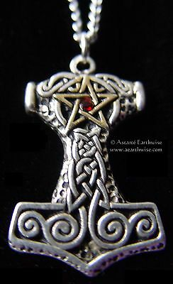 FORBIDDEN THOR'S HAMMER PENDANT Wicca Pagan Witch Goth Norse STRENGTH CORAGE
