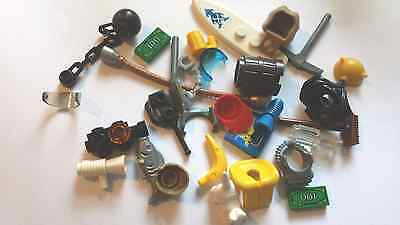 50 RANDOM GENUINE LEGO SPARE PARTS-Weapons,hats,visors,tools,animals,food etc