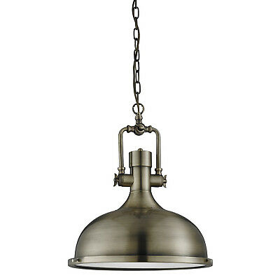 Antique Brass Industrial Ceiling Pendant Light Fitting With Frosted Diffuser New