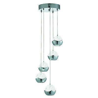 Iceball LED Chrome 5 Light Multi-drop Ceiling Fitting Pendant With Glass Shades