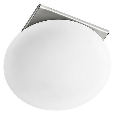 Satin Silver Surface Downlighter Ceiling Light Fitting Cube Opal Glass Shade New