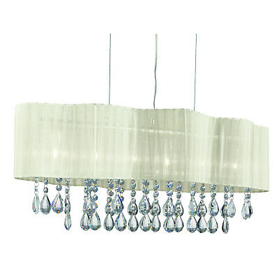 Pleated Chrome 6 Light Ceiling Chandelier Fitting With Grey Shade Crystal Drops