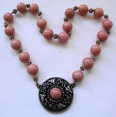 Antique pink Chinese Peking glass necklace with Chinese silver marked pendant