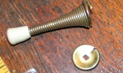 "Vintage Brass plated Steel 3"" Door Stopper Spring Wall mount Screw in/ rubber"