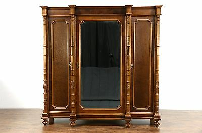 Italian 1900 Antique Walnut Triple Armoire, Wardrobe or Closet, Beveled Mirror