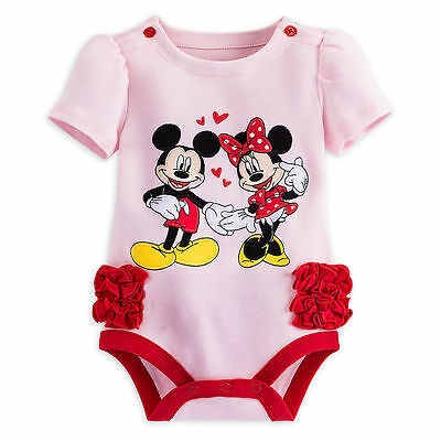 Disney Store Minnie & Mickey Mouse Baby Outfit Bodysuit Girls 3 6 9 12 Months