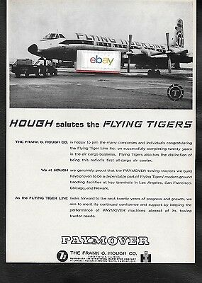 Flying Tigers Line Canadair Cl-44 & Hough Paymover Tractors 1965 Ad
