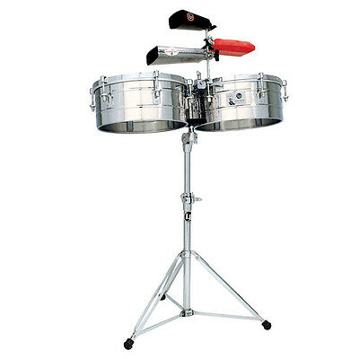 """LP LATIN PERCUSSION 14"""" & 15"""" TITO PUENTE STEEL TIMBALES DRUMS w/ STAND LP257-S"""