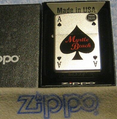 ZIPPO  MYRTLE BEACH Lighter ACE of SPADES  MB Tourist  MINT In BOX
