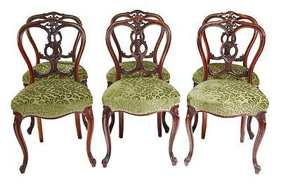 Set Of 6 19Th Century Carved Walnut Victorian Dining Chairs