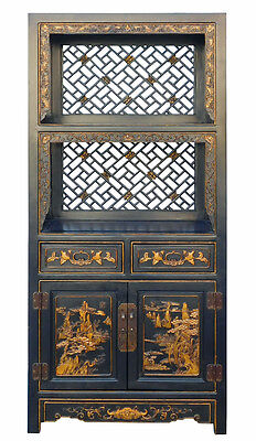 Chinese Black Golden Scenery Relief Carving Display Cabinet cs967