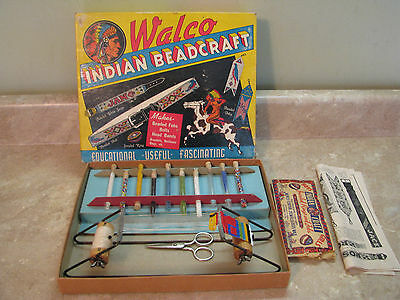 WALCO Indian Bead Craft Kit NATIVE AMERICAN Vtg 1935 w/LOOM BEADS BOOKLETS 210