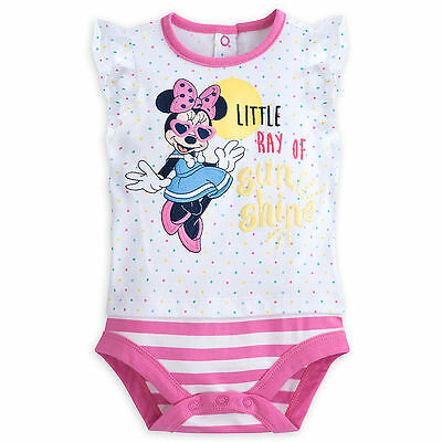 Disney Store Minnie Mouse Baby Outfit Cuddly Bodysuit Girls Size 0-3 Months NWT