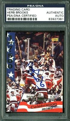 Herb Brooks Authentic Signed 1980 Miracle USA Hockey Card PSA/DNA Slabbed