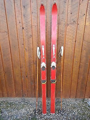 "Vintage Wooden 70"" Long RED Finish Skis with Metal Bindings"