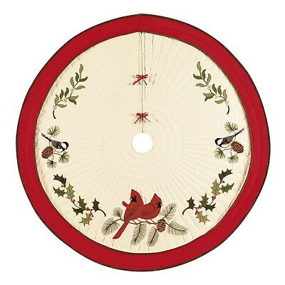 """54"""" Quilted Christmas  Tree Skirt, HOLIDAY SONG BIRDS,CF842632128"""