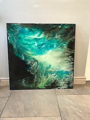 Stunning Modern Hand Painted Turquoise Metal Wall Art Sculpture