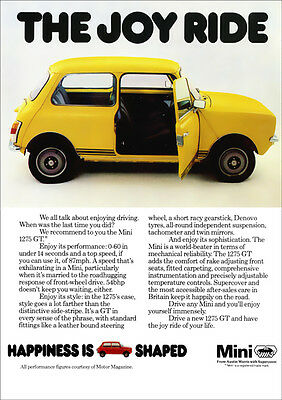 MINI 1275 GT AUSTIN MORRIS RETRO A3 POSTER PRINT FROM CLASSIC 70's ADVERT