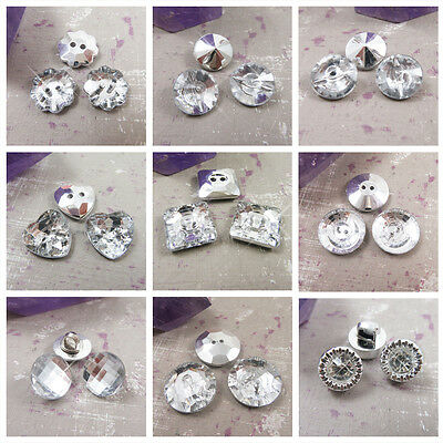 Silver Sew On Crystal Bling Buttons *14 Styles* Round Heart Square Flower Sewing