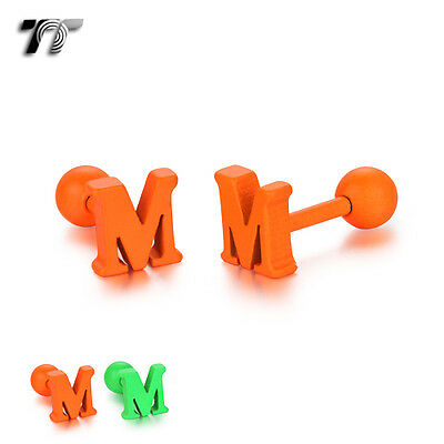 TT Surgical Steel Letter M Fluorescent Ear Cartilage Tragus Earrings (TR20) NEW