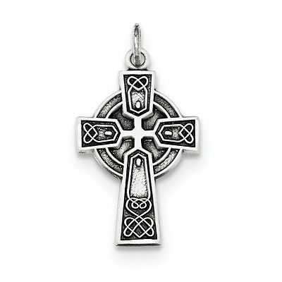 .925 Sterling Silver Solid Satin & Antique Finish Small Celtic Cross Pendant