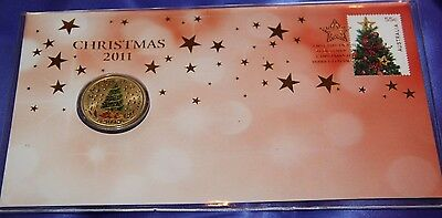 2011 Coin & Stamp Set Christmas 2011 Christmas Tree Coin & Stamp Unc Fdc Set
