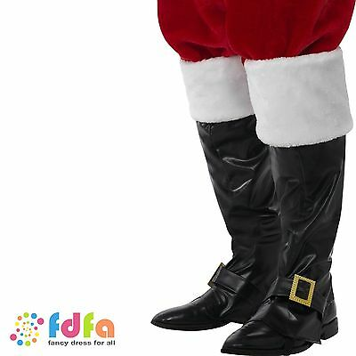 DELUXE SANTA BLACK BOOT COVERS FUR TOPS CHRISTMAS fancy dress accessory