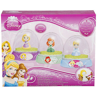 Princess Paint Your Own Glitter Dome 3 Pack Kids Toy Creative Colouring Activity