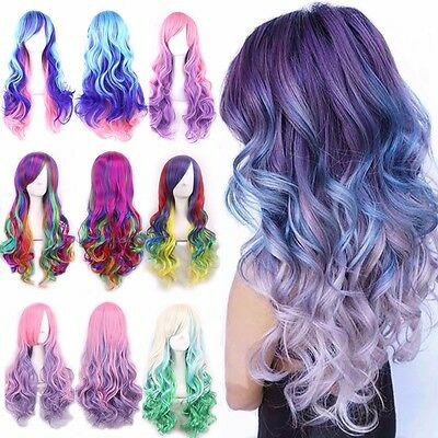 Rainbow Wig Super Long Curly Wavy Straight Full Hair Wigs Cosplay Party Anime #9