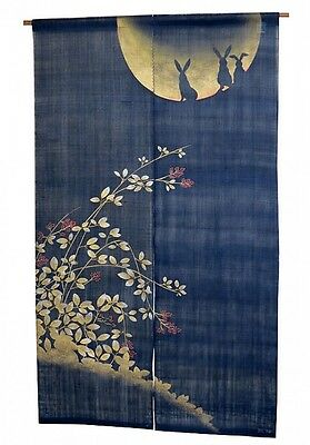 Noren Japanese hanging curtain Hand dyed Moon Usagi Linen from Kyoto 88 x150cm