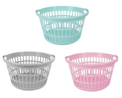 Plastic Circular Round Style Washing Linen Laundry Basket Choice Of Colours