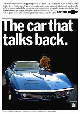Chevrolet Corvette Sting Ray Retro A3 Poster Print From 1968 Advert