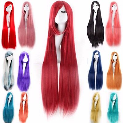 UK 60/80/100cm Extra Lungo Dritto Ricci Anime Cosplay Parrucca Halloween #f