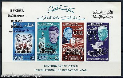 QATAR JOHN F. KENNEDY SC MENTIONED MI# BL12a REVALUED MINT HINGED AS SHOWN