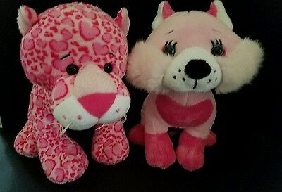 Webkinz PLUSH ONLY LOT of 2: LOVELY FOX +  LOVELY LEOPARD - JUST the PLUSH !!!!!