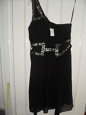 Gorgeous Lack Off The Shoulder Black Prom / Dress Woth Cut Out Detail - Size 10