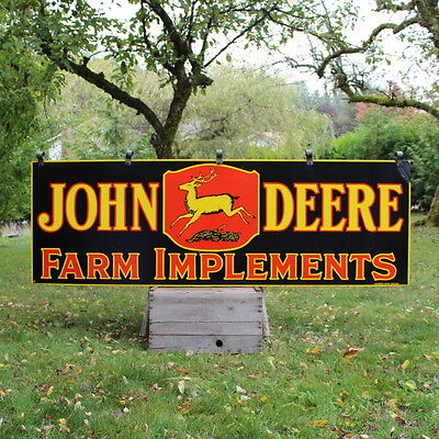 Vintage 1920's John Deere Farm Implements Double Sided Porcelain Sign Tractor